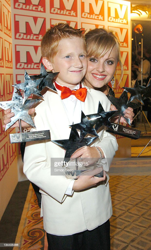 Samuel Aston and Tina O'Brien during 2004 TV Quick Soap Awards - Press Room at Dorchester Hotel in London, Great Britain.