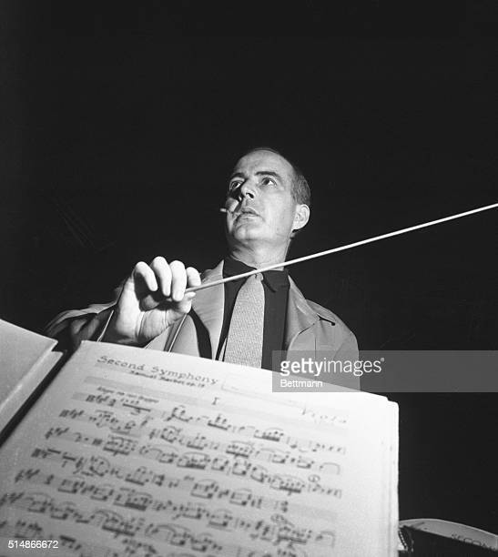 Samuel Barber, one of America's outstanding composers, as seen from the violinist's chair during rehearsal.
