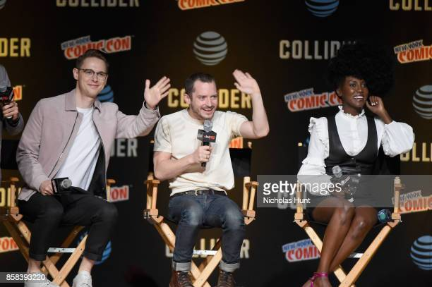 Samuel Barnett Elijah Wood and Jade Eshete speak onstage during the Dirk Gently's Holistic Detective Agency BBC AMERICA Official Panel during 2017...