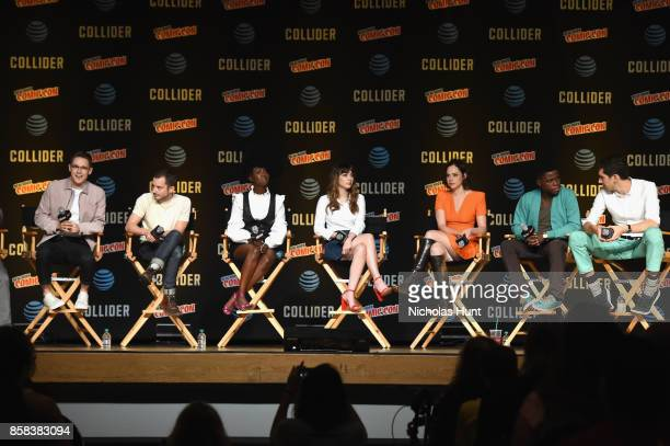 Samuel Barnett Elijah Wood Jade Eshete Hannah Marks Fiona Dourif Mpho Koaho and Max Landis speak onstage during the Dirk Gently's Holistic Detective...