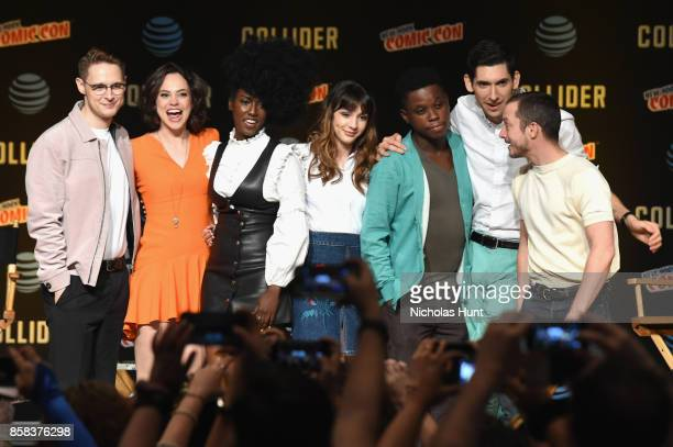 Samuel Barnett, Fiona Dourif, Jade Eshete, Hannah Marks, Mpho Koaho, Max Landis, and Elijah Wood pose onstage during the Dirk Gently's Holistic...