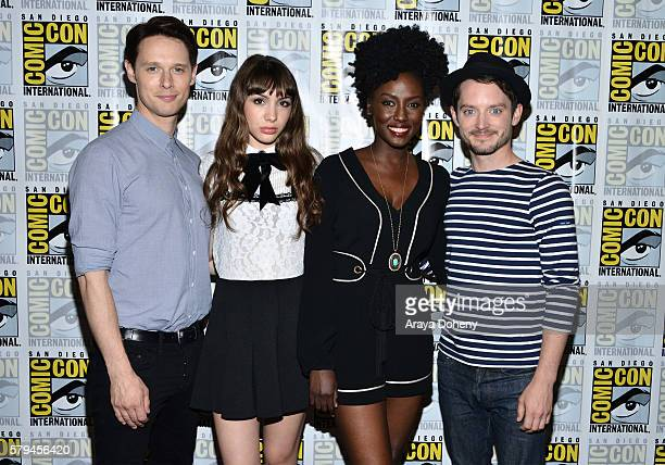 Samuel Barnett, Hannah Marks, Jade Eshete and Elijah Wood attend the Dirk Gently press line at Comic-Con International 2016 - Day 3 on July 23, 2016...
