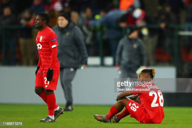 Samuel Bastien of Standard Liege looks dejected following the UEFA Europa League group F match between Standard Liege and Arsenal FC at Stade Maurice...