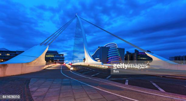 Samuel Beckett Bridge in Dublin with Liffey River and city Skyline (Dublin/ ireland)