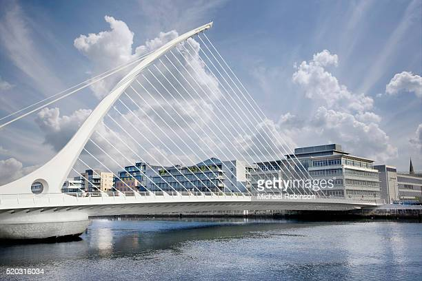 samuel beckett bridge over the river liffey, dublin ireland - michael robinson stock pictures, royalty-free photos & images