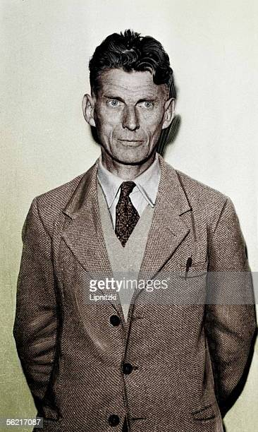Samuel Beckett Irish writer at the time of a rehearsal of 'Waiting for Godot' 1956 Colourized photo