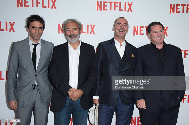 Samuel Benchetrit Dan Franck Pascal Breton and Florent EmilioSiri attend the 'Netflix' Launch Party At Le Faust In Paris on September 15 2014 in...
