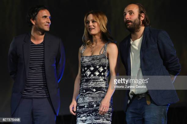 Samuel Benchetrit Vanessa Paradis Vincent Macaigne attend 'Chien' premiere during the 70th Locarno Film Festival on August 7 2017 in Locarno...