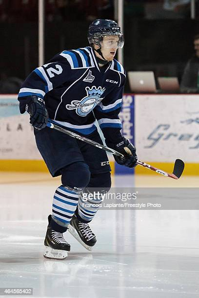 Samuel Blier of the Chicoutimi Sagueneens skates during warmup prior to a game against the Gatineau Olympiques on February 20, 2015 at Robert Guertin...