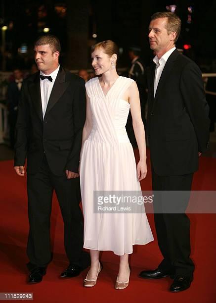 Samuel Boidin Adelaide Leroux and Bruno Dumont during 2006 Cannes Film Festival Flandres Premiere at Palais des Festival in Cannes France