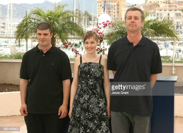 Samuel Boidin Adelaide Leroux and Bruno Dumont during 2006 Cannes Film Festival 'Flandres' Photocall at Palais des Festival Terrace in Cannes France