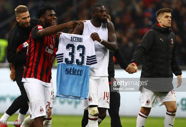 Samuel Castillejo Franck Kessie Tiemoue Bakayoko and Krzysztof Piatek of AC Milan celebrate a victory at the end of the Serie A match between AC...