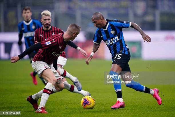 Samuel Castillejo of AC Milan Ashley Young of FC Internazionale Milano during the Italian Serie A match between Internazionale v AC Milan at the San...