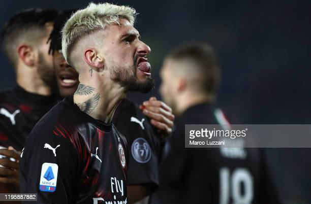 Samuel Castillejo of AC Milan celebrates a goal scored by Ante Rebic during the Serie A match between Brescia Calcio and AC Milan at Stadio Mario...