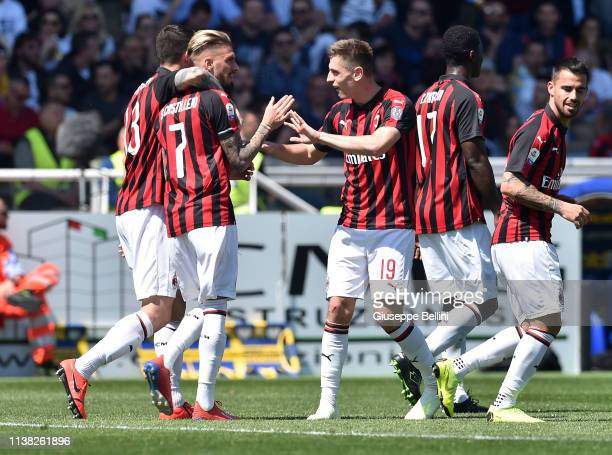 Samuel Castillejo of AC Milan celebrates after scoring the opening goal during the Serie A match between Parma Calcio and AC Milan at Stadio Ennio...