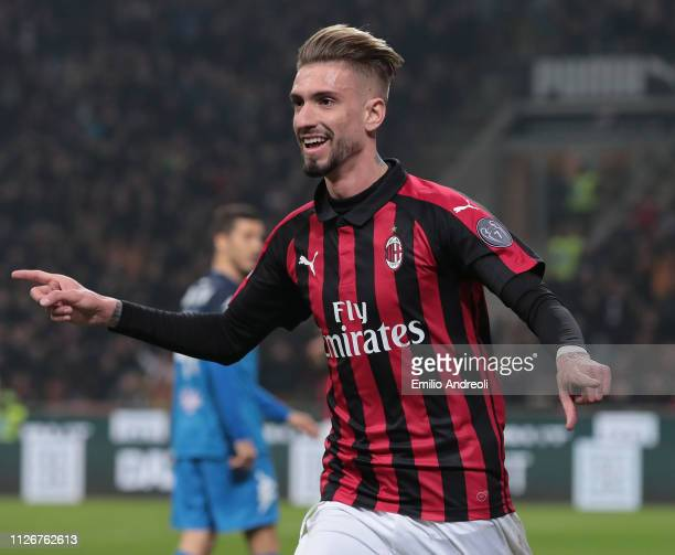 Samuel Castillejo of AC Milan celebrates his goal during the Serie A match between AC Milan and Empoli at Stadio Giuseppe Meazza on February 22 2019...
