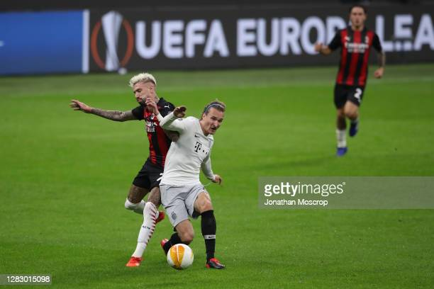 Samuel Castillejo of AC Milan challenges Matej Hanousek of Sparta Praha during the UEFA Europa League Group H stage match between AC Milan and AC...