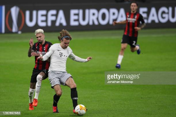 Samuel Castillejo of AC Milan fights for the ball with Matej Hanousek of Sparta Praha during the UEFA Europa League Group H stage match between AC...