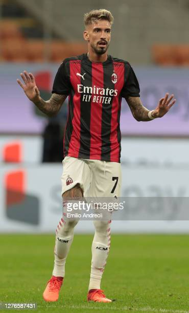 Samuel Castillejo of AC Milan gestures during the UEFA Europa League third qualifying round match between AC Milan and Bodo Glimt at Stadio Giuseppe...