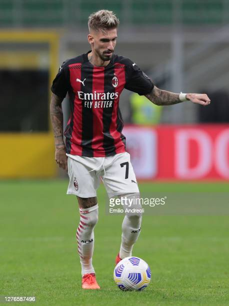 Samuel Castillejo of AC Milan in action during the UEFA Europa League third qualifying round match between AC Milan and Bodo Glimt at Stadio Giuseppe...