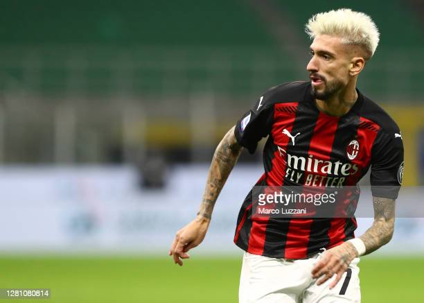 Samuel Castillejo of AC Milan looks on during the Serie A match between FC Internazionale and AC Milan at Stadio Giuseppe Meazza on October 17 2020...