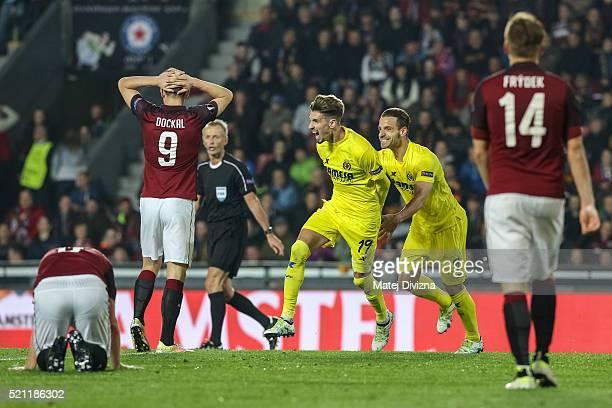 Samuel Castillejo of Villareal celebrates his goal with his teammate Roberto Soldado during the UEFA Europa League Quarter Final second leg match...