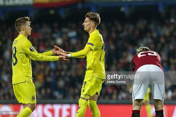 Samuel Castillejo of Villareal celebrates his goal with his teammate Daniel Suarez during the UEFA Europa League Quarter Final second leg match...