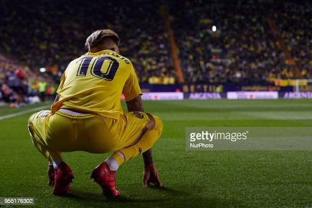 Samuel Castillejo of Villarreal CF looks on during the La Liga game between Villarreal CF and Valencia CF at Estadio de la Ceramica on May 5 2018 in...