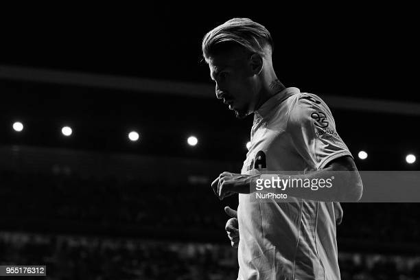 the image has been converted to black and white Samuel Castillejo of Villarreal CF looks on during the La Liga game between Villarreal CF and...
