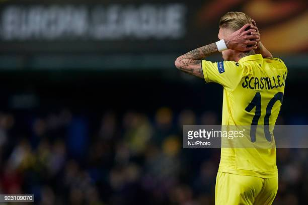 Samuel Castillejo of Villarreal CF reacts during the UEFA Europa League round of 32 second leg match between Villarreal CF and Olympique Lyonnais at...