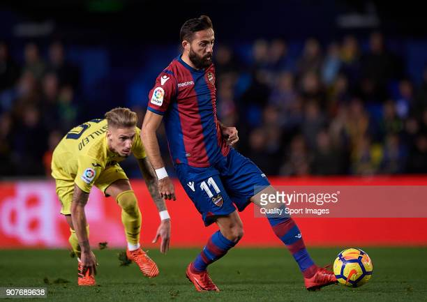 Samuel Castillejo of Villarreal competes for the ball with Jose luis Morales of Levante during the La Liga match between Villarreal and Levante at...