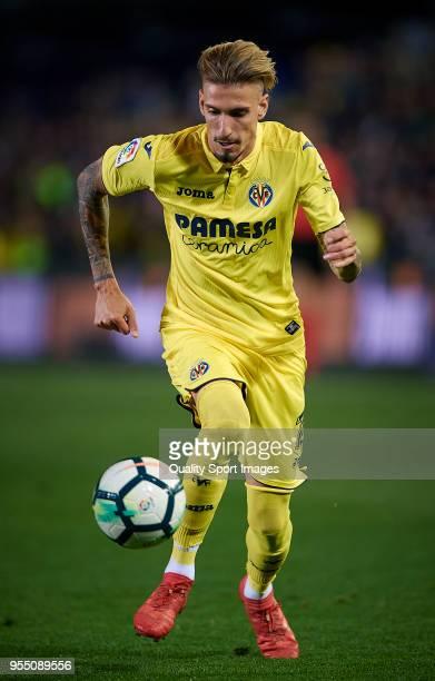 Samuel Castillejo of Villarreal in action during the La Liga match between Villarreal and Valencia at Estadio de la Ceramica on May 5 2018 in...
