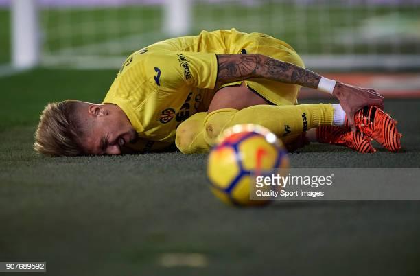 Samuel Castillejo of Villarreal lies on the pitch during the La Liga match between Villarreal and Levante at Estadio de la Ceramica on January 20...