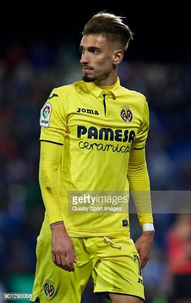 Samuel Castillejo of Villarreal looks on during the Copa del Rey Round of 16 first Leg match between UD Leganes and Villarreal CF at Estadio...