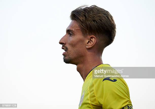Samuel Castillejo of Villarreal looks on during the friendly match between Villarreal CF and CD Hospitalet at Ciudad Deportiva of Miralcamp on July...
