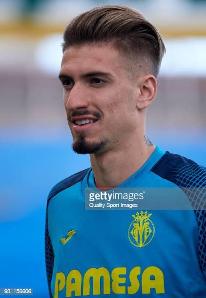 Samuel Castillejo of Villarreal looks on prior to the La Liga match between Las Palmas and Villarreal at Estadio Gran Canaria on March 11 2018 in Las...
