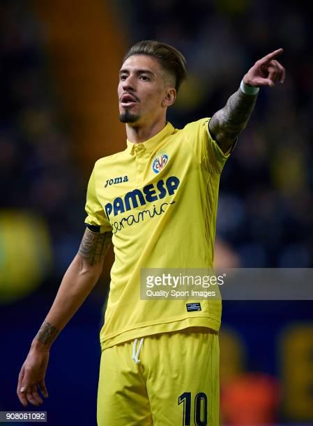 Samuel Castillejo of Villarreal reacts during the La Liga match between Villarreal and Levante at Estadio de la Ceramica on January 20 2018 in...