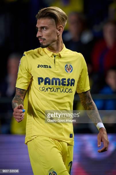 Samuel Castillejo of Villarreal reacts during the La Liga match between Villarreal and Valencia at Estadio de la Ceramica on May 5 2018 in Villarreal...