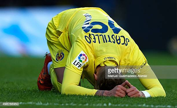 Samuel Castillejo of Villarreal reacts during the La Liga match between Villarreal CF and SD Eibar at El Madrigal stadium on November 22 2015 in...