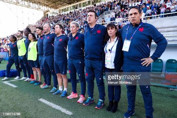 Samuel CHEROUK and Annick HAYRAUD and Samuel CHEROUK of France during the Women's Six Nations Tournament match between France and England on February...
