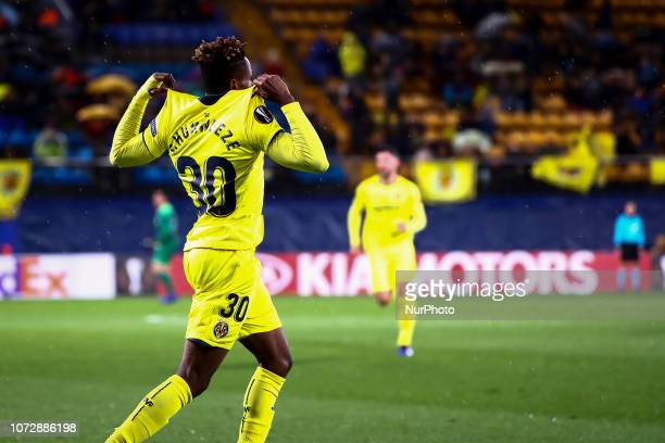 Samuel Chimerenca Chukwueze of Villarreal CF celebrate after scoring the 10 goal during UEFA Europa League match between Villarreal CF v Spartak...
