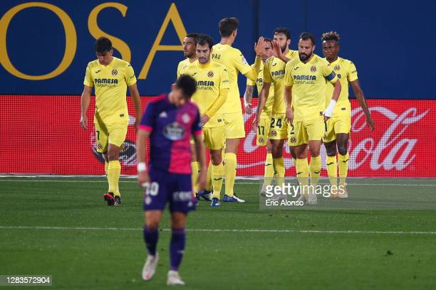 Samuel Chukwueze of Villarreal celebrates with teammates after scoring his team's first goal during the La Liga Santander match between Villarreal CF...