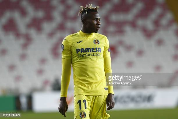 Samuel Chukwueze of Villarreal gestures during UEFA Europa League Group I match between Demir Grup Sivasspor and Villarreal at the 4 Eylul Stadium in...