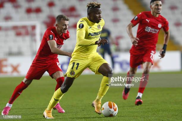Samuel Chukwueze of Villarreal in action during UEFA Europa League Group I match between Demir Grup Sivasspor and Villarreal at the 4 Eylul Stadium...