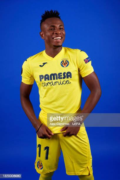 Samuel Chukwueze of Villarreal poses for a photo during a Villarreal CF Access Day ahead of the UEFA Europa League Final between Villarreal CF and...