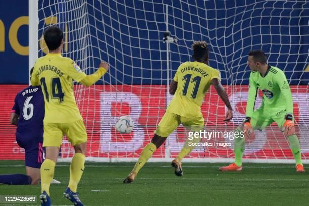 Samuel Chukwueze of Villarreal scores the first goal to make it 1-0 during the La Liga Santander match between Villarreal v Real Valladolid at the...