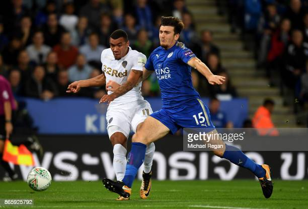 Samuel Clucas of Swansea City and Harry Maguire of Leicester City battle for possession during the Caraboa Cup Fourth Round match between Leicester...