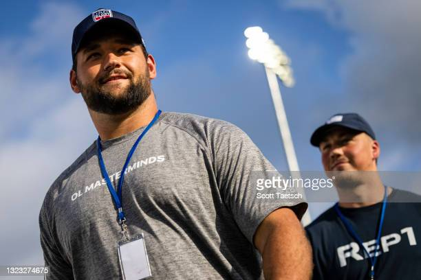 Samuel Cosmi and John Bates of the Washington Football Team look on before the second half of the match between Old Glory DC and NOLA Gold at Segra...