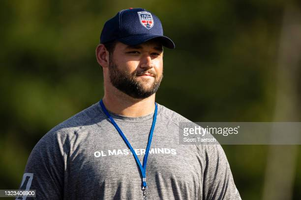 Samuel Cosmi of the Washington Football Team looks on before the second half of the match between Old Glory DC and NOLA Gold at Segra Field on June...