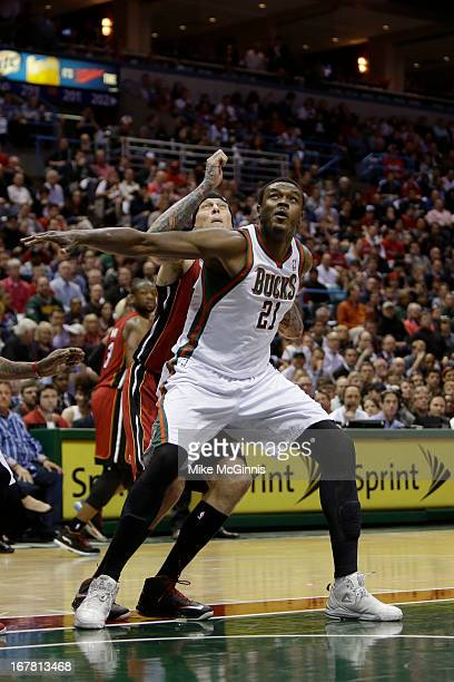 Samuel Dalembert of the Milwaukee Bucks in action against the Miami Heat during Game Three of the Western Conference Quarterfinals of the 2013 NBA...